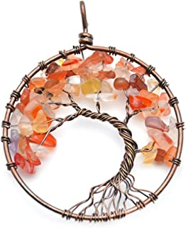 Flourishbeads Natural Stone Chips Beads Life Tree Antique Copper Color Metal Round Pendant