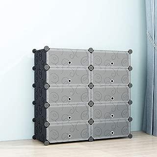 SIMPDIY Portable Shoe Rack Storage Organizer Shoe Box Storage System with Doors, Shoes,Accessories - Black (2x5 Cubes 93x37x90cm/37x15x36In)