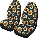 BONRI Fundas para asiento de coche con estampado de cactus y fundas duraderas para silla de montar, 2 unidades, para la mayoría de coches, sedán, furgonetas, todoterreno, girasoles