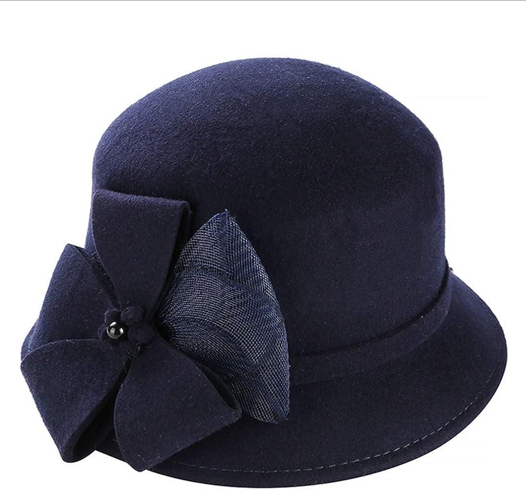 Stylish Fall Winter Felt Fedoras Hat for Women Men Flowers Decor Bucket Hat for Lady Floppy Wide Brim Jazz Cap
