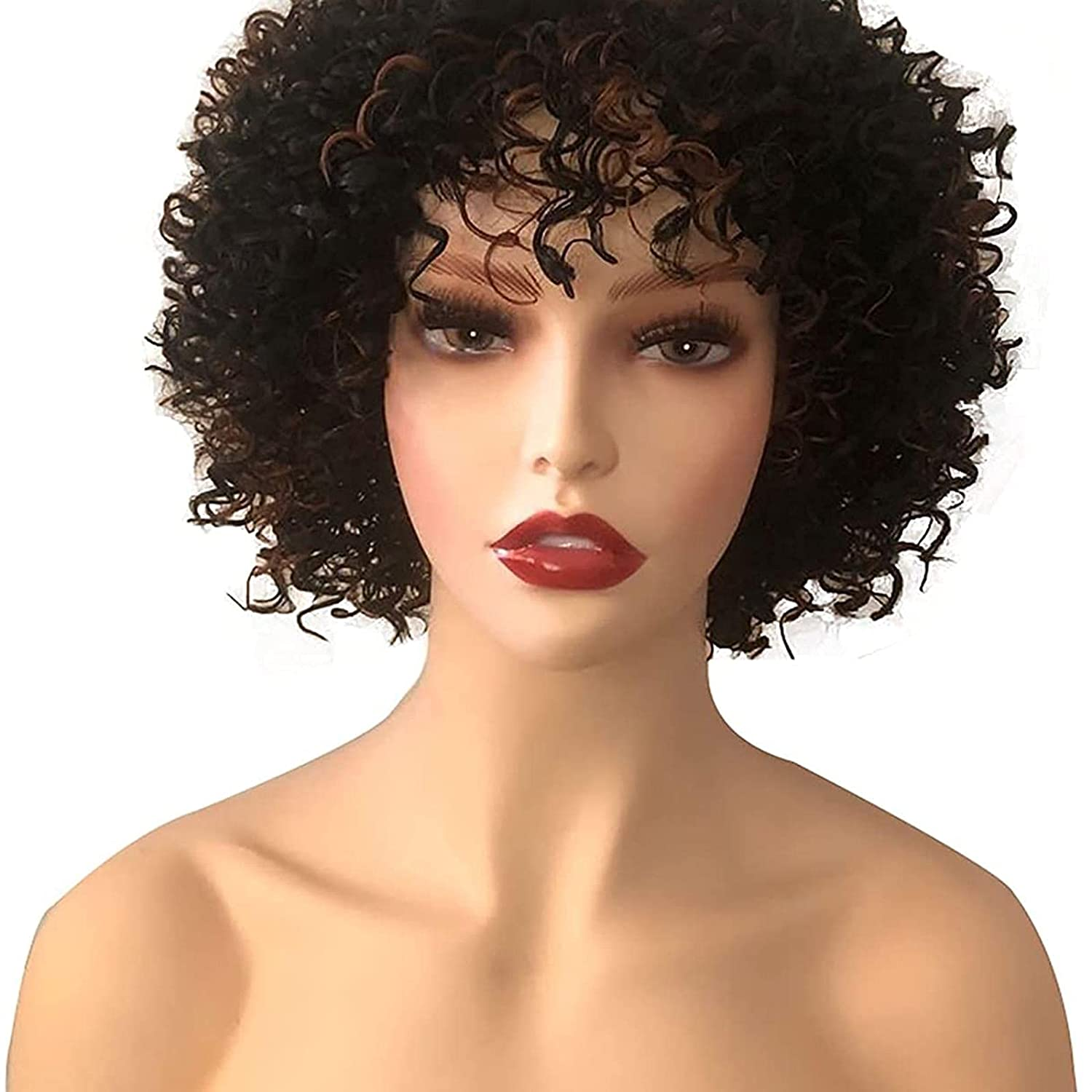Cosplay Short Curly Wig for Genuine low-pricing Black with Bouncy Bangs Fl Women Big