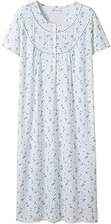 Women's Nightgowns 100% Cotton Lace Trim Soft Lightweight Short Sleeve Long Sleepwear for Women