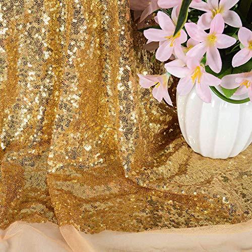 Paillettenstoff Polsterstoff Paillettenstoff Stretch Paillettenstoff Glitzerstoff Steppstoff Damen Kleid Stoff Pailletten Stoff Meterware, Goldfarbener Futterstoff., gold, 1 m