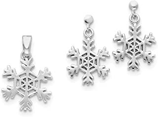 Sterling Silver Polished Post Earrings Rhodium-plated Snowflake Earrings and Pendant Set
