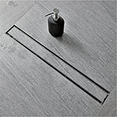 """√ Linear Shower Drain Size:28"""" length, 2.75"""" width, 2"""" central outlet. 28 L/min High Flow Capability. √ Shower Floor Drain Material: AISI 304 Stainless Steel, Made of strong 304 grade Stainless Steel, Brushed Surface, Brushed Steel Finished protect a..."""