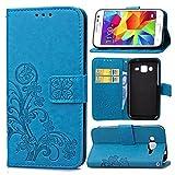 pinlu Funda para Samsung Galaxy Core Prime (G3608) Función de Plegado Flip Wallet Case Cover Carcasa Piel PU Billetera Soporte con Trébol de la Suerte Azul
