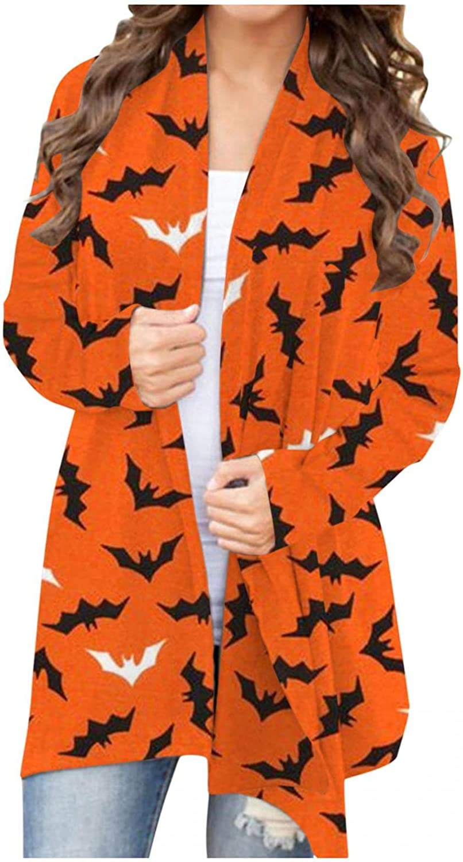 UOCUFY Halloween Cardigan for Women,Long Sleeve Open Front Cardigan Casual Pumpkin Print Lightweight Sweatshirts Hooded