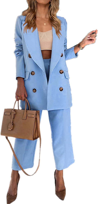 Women's 2 Piece Outfits Business Blazer Set Lady Elegant Office Slim Fit Suit Long Sleeve Button Down Jacket Top Elastic Pant