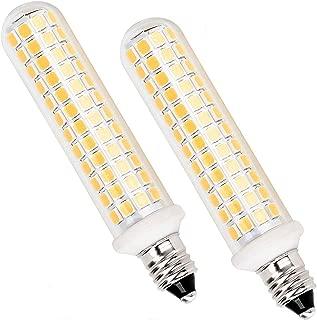 New Upgrade -E11 led Bulb,E11 Mini Candelabra Base,125 LEDs 100W 120W Halogen Bulbs Equivalent, 10w 1100lm E11 led Warm White (2 Packs) 3000K,AC 110V/130V,JD T3 T4 Bulb (Warm White) (Warm White)