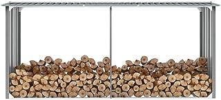 "vidaXL Garden Log Storage Shed Heavy Duty Outdoor Backyard Timber Storage Cabin Firewood House Galvanized Steel 130"" Gray"