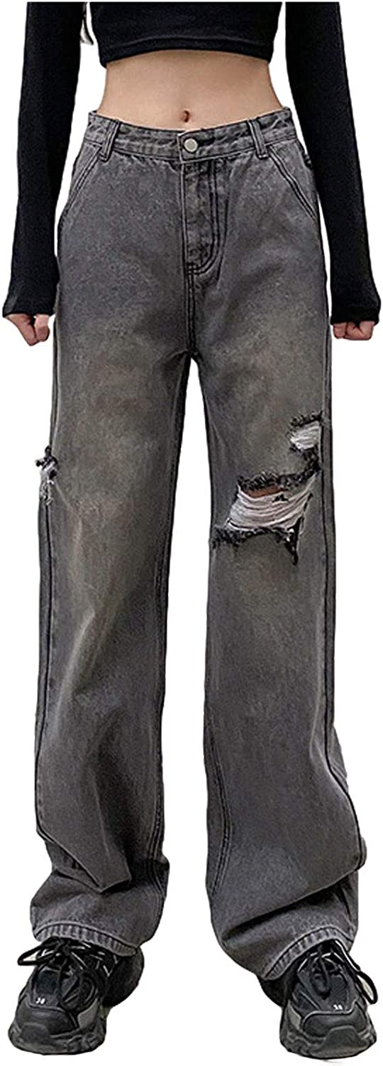 Women Patchwork Casual Pants Hight Waist Distressed Straight Denim Jeans Sexy A-line Vintage Trousers
