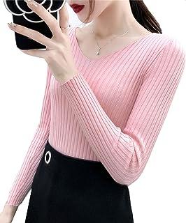 [ジョプリンアンドコー] 7カラー vネックリブニット きれいめ カジュアル シンプル 薄手 長袖 秋冬 レディース