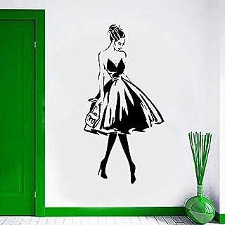 Vinilos decorativos y murales Etiqueta de la pared Rostro femenino Estilo de moda Vinilo hormiga Mural Ropa Tienda Be Design Poster Mural Salón de belleza Decoración 57x112cm