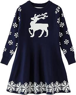 SMILING PINKER Little Girls Christmas Dress Reindeer Snowflake Xmas Gifts Winter Knit Sweater Dresses (2-3T Navy Blue)