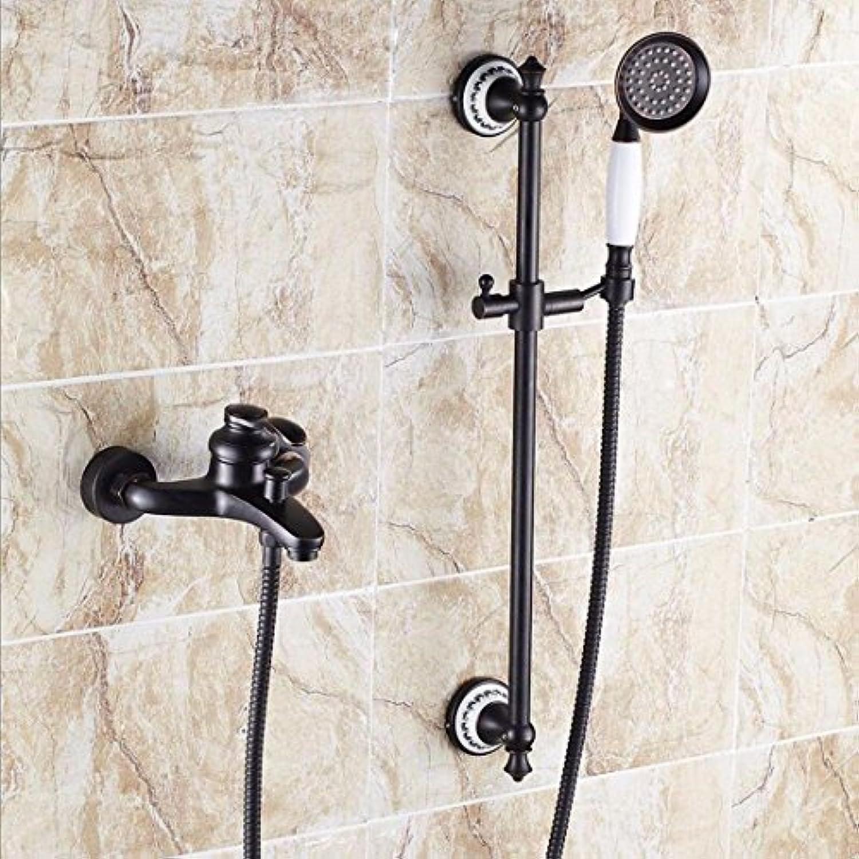 ETERNAL QUALITY Badezimmer Waschbecken Wasserhahn Messing Hahn Waschraum Mischer Mischbatterie Schwarz antik Messing-Dusche Wasser Mischventil Badewanne Armatur B Tippen