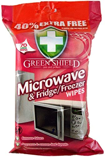 Greenshield Microwave and Fridge Freezer 70 Wipes Pack 40 Extra free