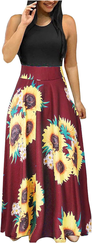 Choice Women Summer Sleeveless Al sold out. Floral Print Casual Sundress Swing Dress