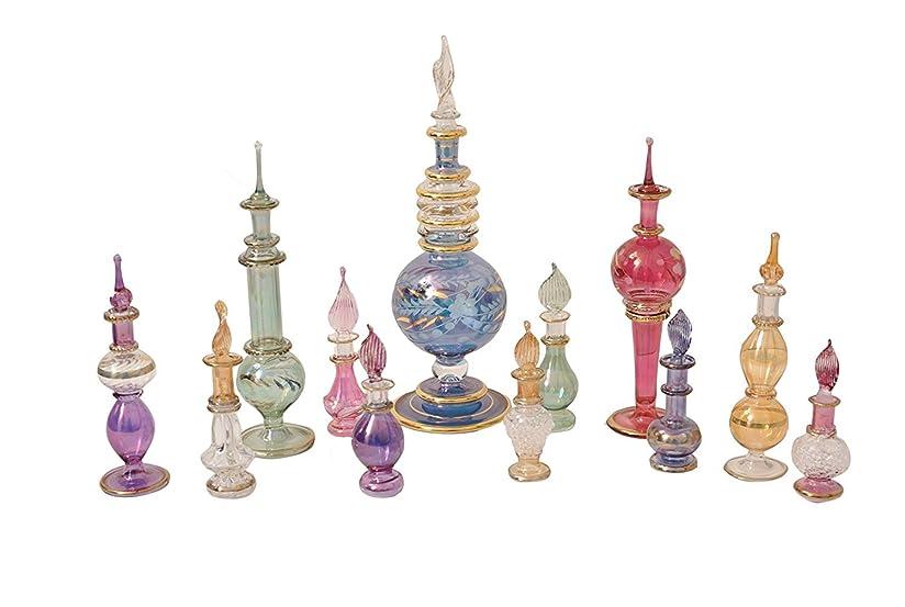 チェスをするラインナップシーサイドエジプト香水瓶12のセットをMixコレクション手吹き装飾Pyrexガラスバイアルズby CraftsOfEgypt