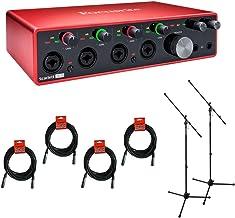 Focusrite Scarlett 18i8 USB Audio Interface (3rd Gen) with 2x Tripod Microphone Stand & 4x XLR Cable Bundle