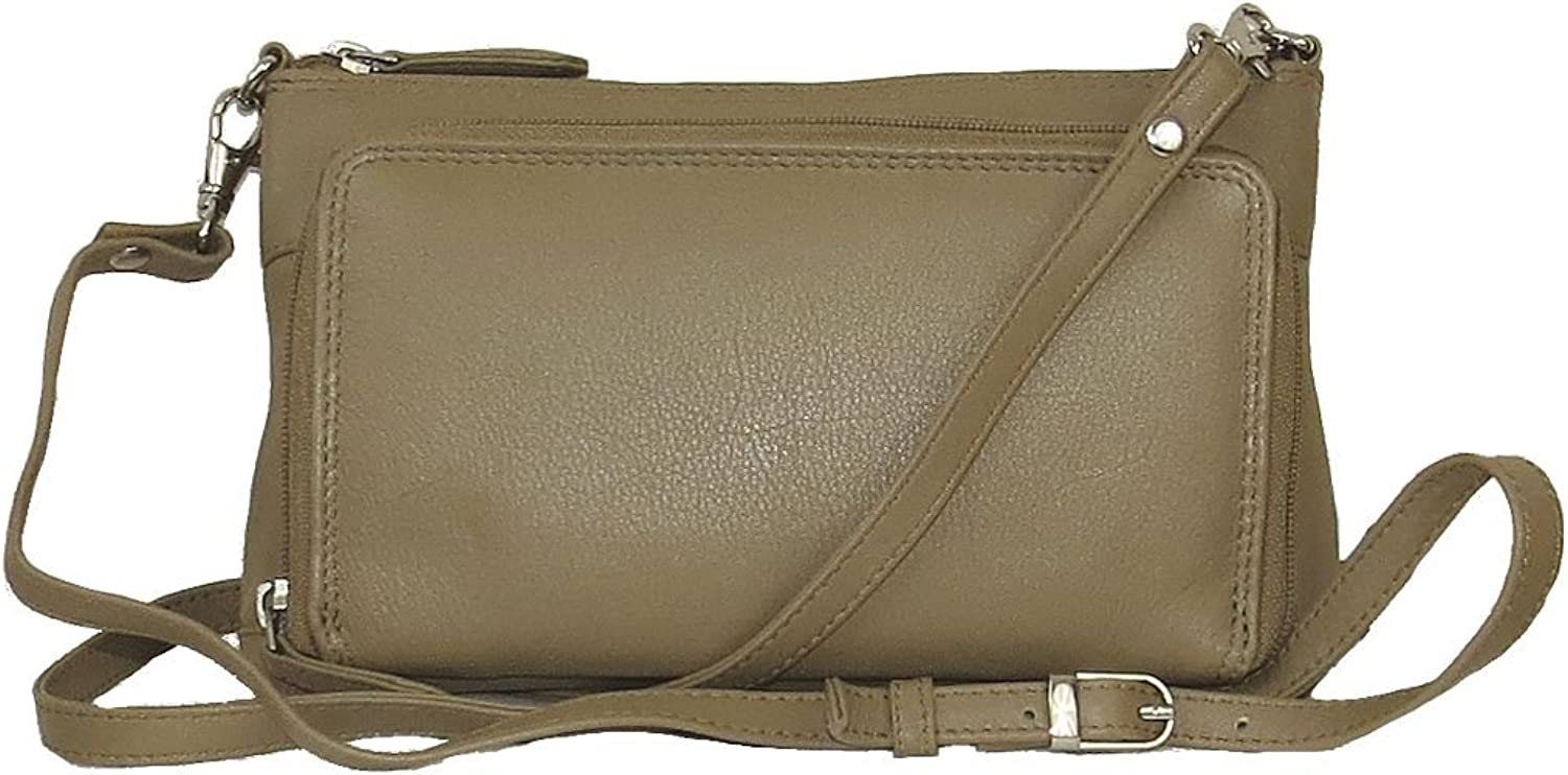 Pielino Genuine Leather Multipocket Organizer Mini Crossbody Bag 3106 (Beige)