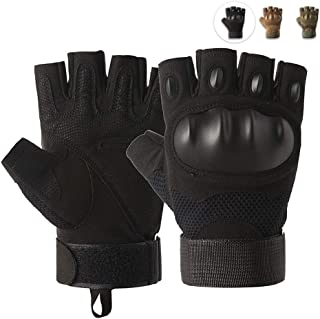 Outdoor Tactical Gloves, Breathable Half Finger Sports Gloves, Anti-Slip Cycling Gloves for Bike, Motorcycle, Mountaineeri...