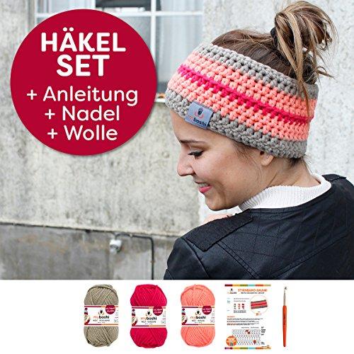 myboshi Häkel-Set Stirnband Amami | aus No.1 | Anleitung + Wolle | mit passender Häkelnadel | Stirnband-Häkel-Set | Schlamm Rouge Kirsche