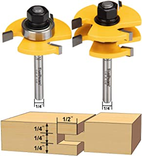 FivePears 2 Pieces of Tongue and Groove Router Bits Set with 1/4