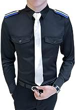 QZH.DUAO Men's Long Sleeve Button Down Uniform Shirt with Epaulette Necktie