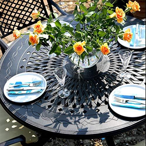 Lazy Susan - Amy 120 cm Runder Gartentisch mit 4 Stühlen - Gartenmöbel Set aus Metall, Antik Bronze (Emma Stühle)