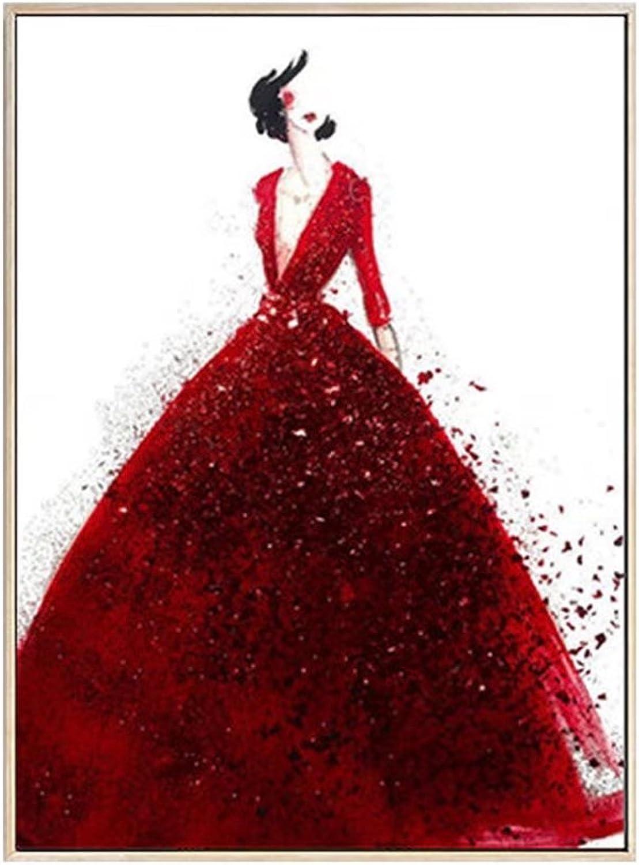 DIY 5D Full Diamond Painting Kits red wedding dress Rhinestone Crystal Cross-Stitch Embroidery diy Round Diamond Picture Canvas Kit Home Decor, No Frame