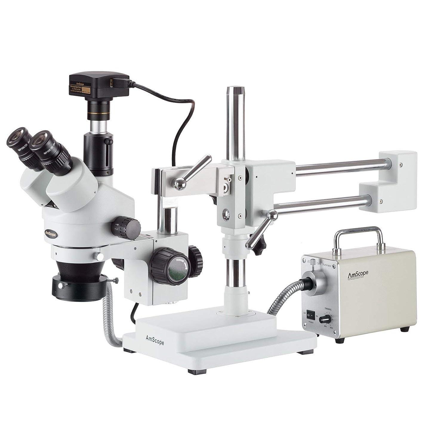 米国生き返らせる行くAmScope LED光ファイバと5MP USB3カメラ付き3.5X-180Xサイマルフォーカル三眼鏡ブームステレオ顕微鏡
