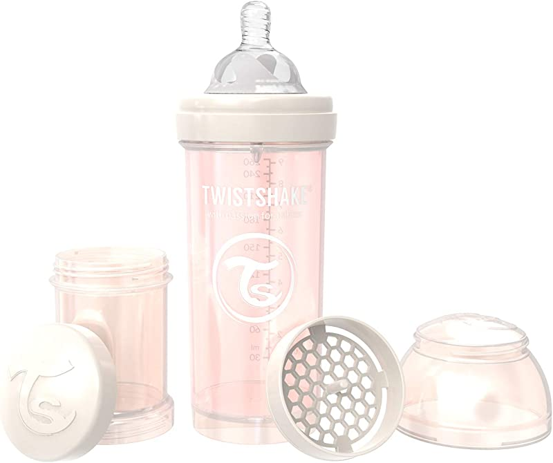 Twistshake Anti Colic Bottles For Baby Care Bottle Food Products 260ml 8oz Pearl Champagne