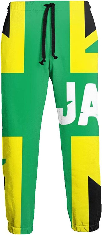 Mens Elastic Waist Sweatpants Jamaica Flag Joggers Sweatpants for Gym Training Sport Pants