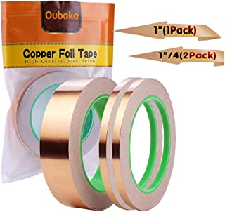 3 Pack Copper Foil Tape,Copper Tape Conductive Adhesive Double-Sided for EMI Shielding,Slug Repellent,Paper Circuits,Electrical Repairs,Grounding(1/4
