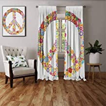 FOEYESEE Room Darkening Curtains Groovy Floral Peace Sign Summer Spring Blooms Love Happiness Themed Illustration Print Multicolor Boys Girls Bedroom Dorm W72 xL72
