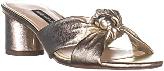 NINE WEST Womens Kayla Leather Open Toe Casual Slide, Gold Synthetic, Size 8.0 US