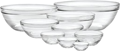 Duralex Made In France Lys Stackable 9-Piece Bowl Set,Clear