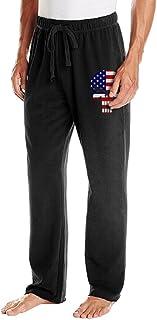 成人 ファッション スウェットパンツ パニッシャー スカル 星条旗 ミックス カジュアル パンツ Black