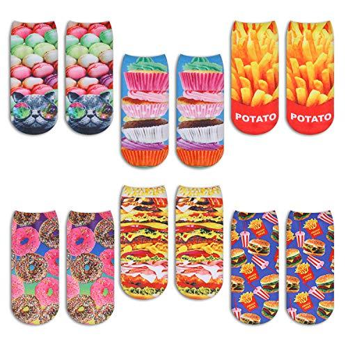 ZMART Damen Mädchen knöchelhohe Einhorn-Socken, bunt, 3D-Lebensmitteldruck, keine Show niedrig geschnittene Socken - - Medium