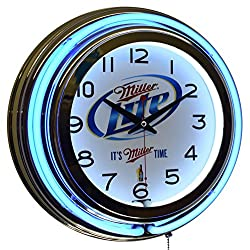 Miller Lite It's Miller Time! Blue Double Neon Advertising Clock Man Cave Game Room Decor