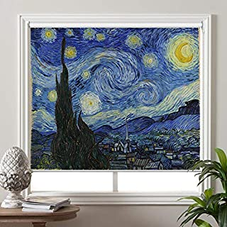 PASSENGER PIGEON Blackout Window Shades, The Starry Night, by Vincent Van Goah, Premium UV Protection Custom Roller Blinds, 20