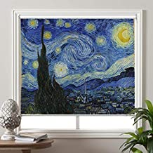 PASSENGER PIGEON Blackout Window Shades, The Starry Night, by Vincent Van Goah, Premium UV Protection Custom Roller Blinds, 24