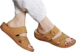 FAPIZI Womens Leather Lace-Up Wedges Flat Casual Shoes Breathable Comfy Anti-Slip Light Sneakers Sneakers for Women