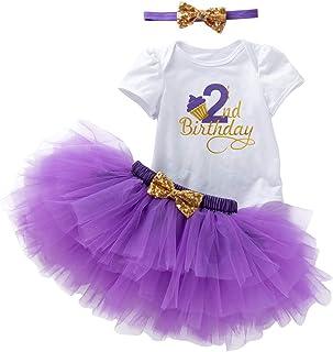 AGQT Neugeborene Mädchen Kuchen Smash Outfit Geburtstagsfeier Tutu Kleid 1./2. / Halbe Geburtstagskleidung Foto Requisiten Strampler  Rock  Stirnband 3PCS 6-24 Monate