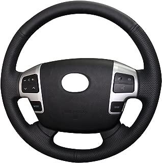 XuJi Genuine Leather Auto Custom steering wheel covers for 2008-2015 Toyota Land Cruiser / 2007 2008 2009 2010 2011 2012 2013 Toyota Tundra / 2008 2009 2010 2011 2012 2013 Toyota Sequoia Accessories