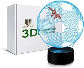 3D Illusion Soccer Night Light Lamp with 7 Color change touch base power by AA batteries