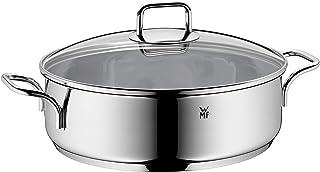 WMF Roestvrijstalen stoofpan 5 l, ongecoat, stoofpan inductie, glazen deksel, Cromargan roestvrij staal, ovenbestendig, ho...