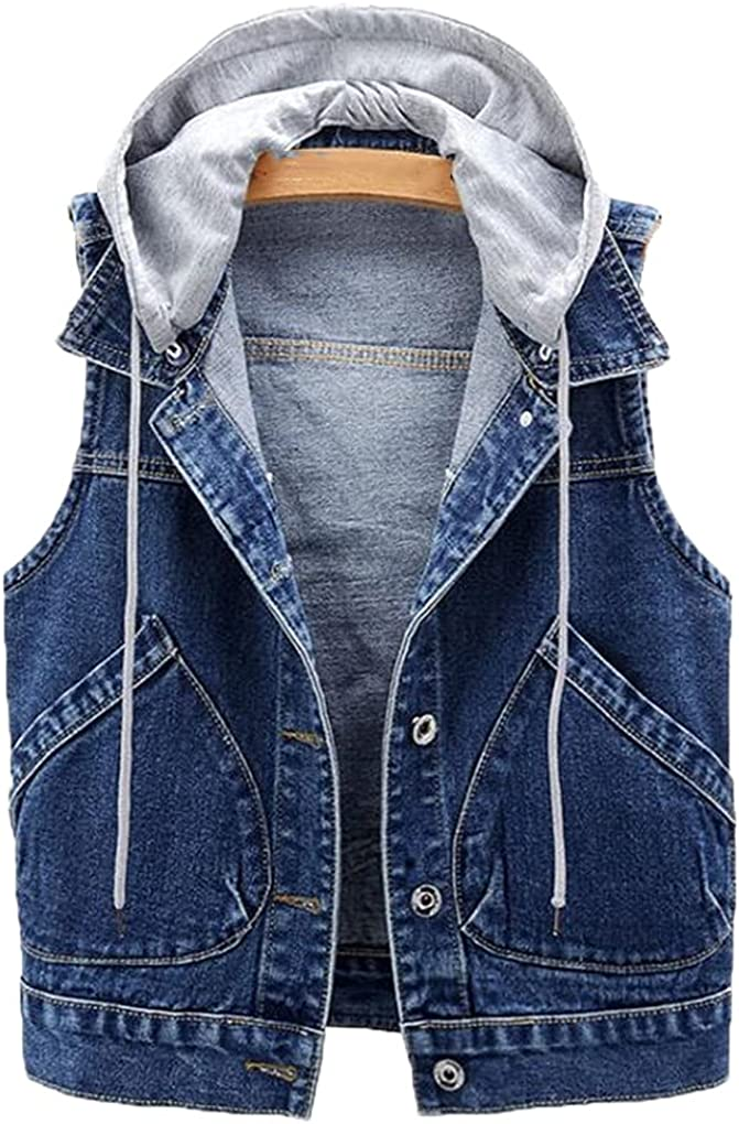 Denim Vests Women Short Spring Hooded Big Pocket Sleeveless Jackets All-Match Slim Tops Cardigan Waistcoat Fall