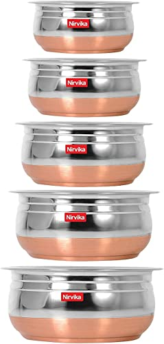 Steel Handi Set Copper Bottom urli Set of 5pc pcs Piece Kitchen Serving biryani milk new pot pan tapeli pateli tope Cooking Bowl mixing home appliances salad 5 Pieces 500ml 800ml 1000ml 1200 ml 1500 ml