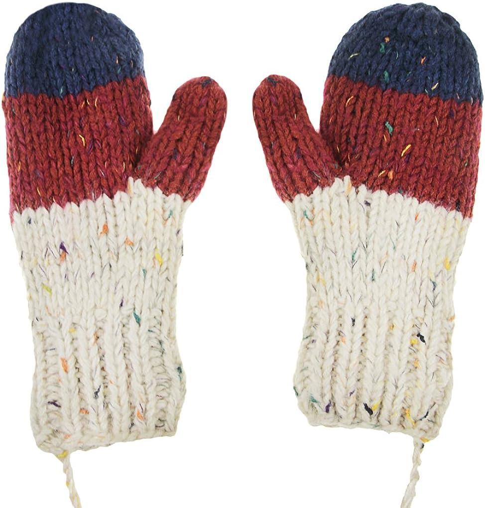 Kids Crochet Wool Knit Gloves Warm Thick Fleece Lined Full Finger Winter Gloves